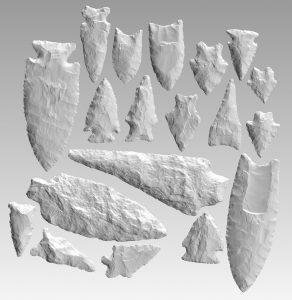 Computer screen image of stone projectile points
