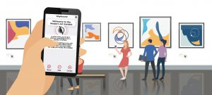 digital illustration of people using smartphones with waytag in a gallery