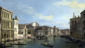 Painting of the Grand Canal in Venice, Italy, featuring numerous boats and grand palaces.