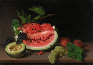 Painting featuring watermelon, guava, grapes, and other fruits.