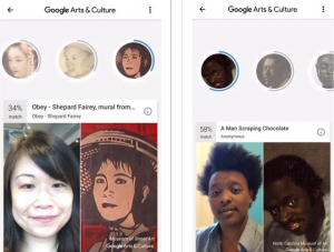 "Screenshot of Google Arts and Culture ""Art Selfie"" app that shows its ethnic bias."