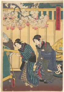 Print of two women in formal Japanese clothing.