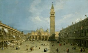 Painting of Piazza San Marco in Venice, Italy with dozens of people walking near the Gothic tower of Saint Mark's Basilica.