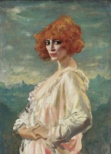 Painting of woman with orange hair, wearing gown, and staring.