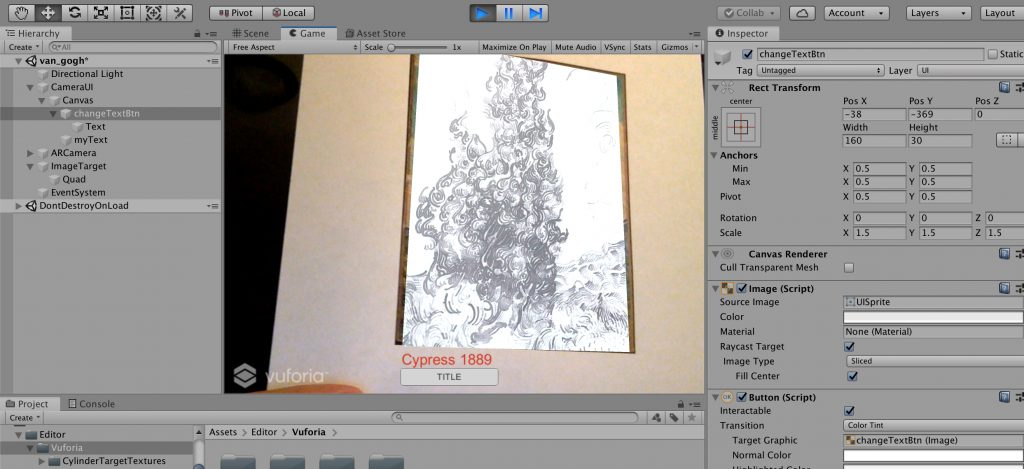 Development in Unity - Testing an AR app with a Vuforia Image Target