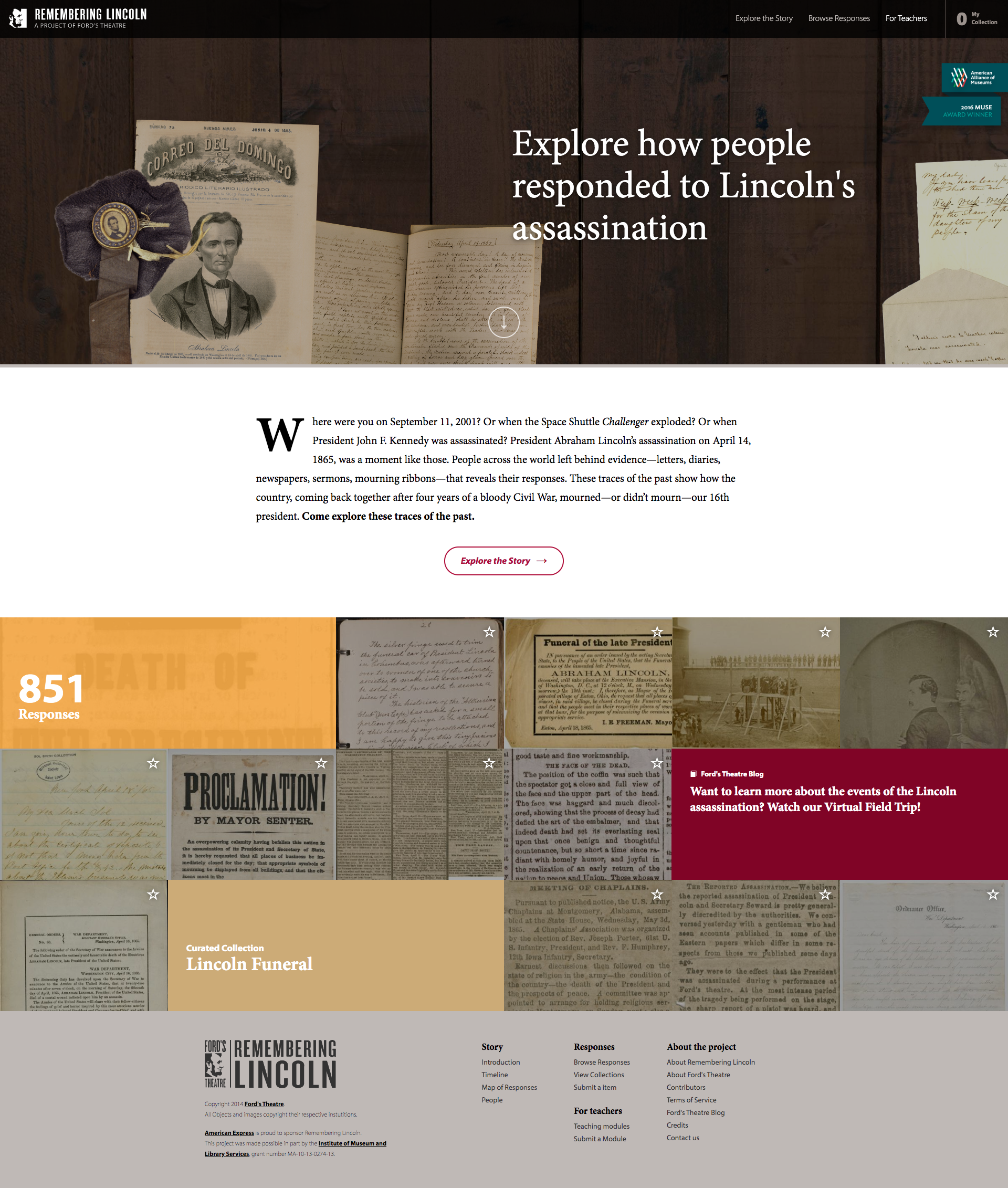 "homepage of the Remembering Lincoln website, inviting users to ""explore how people responded to Lincoln's assassination""."