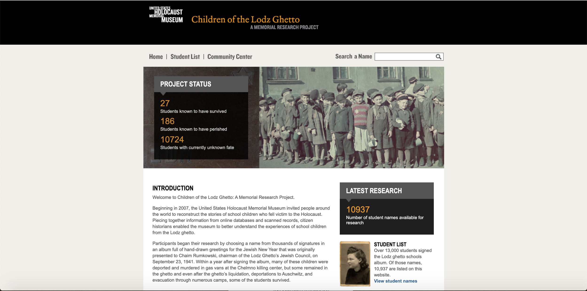 homepage of the Children of the Lodz Ghetto project, with an introduction to the project, latest research, project status, and student list