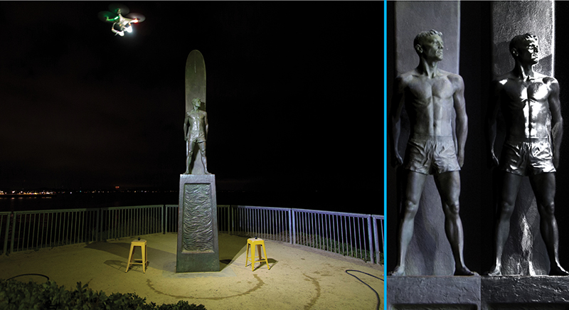 Surfer Memorial Statue in Santa Cruz, CA next to resulting RTI specular information from one angle of the figure