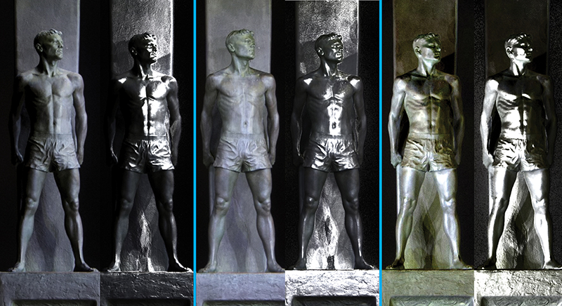 Figure 7: These are resulting images (including the default and specular enhancement views) of several lighting positions visible from the RTI file of the Santa Cruz Surfer Memorial Statue.