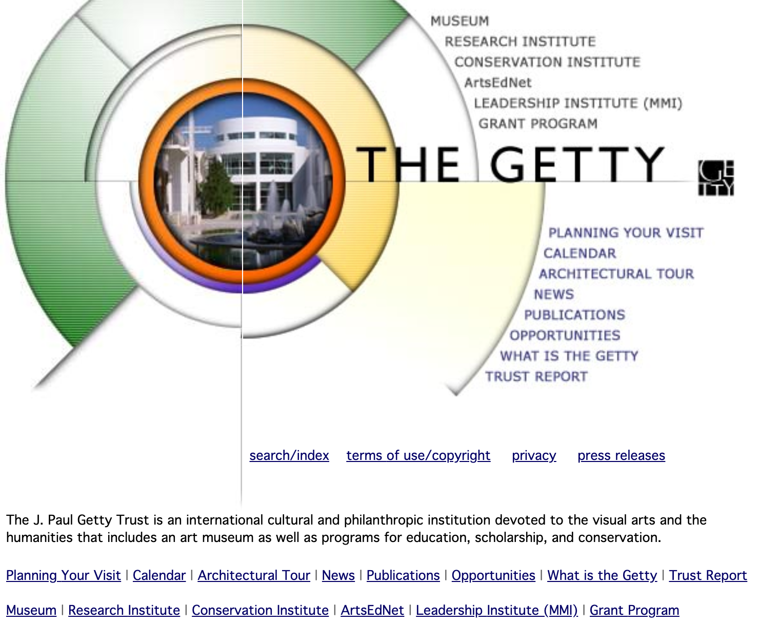 Screencapture of an early-2000s website with a large round orb atop a white backdrop with many text links encircling it.