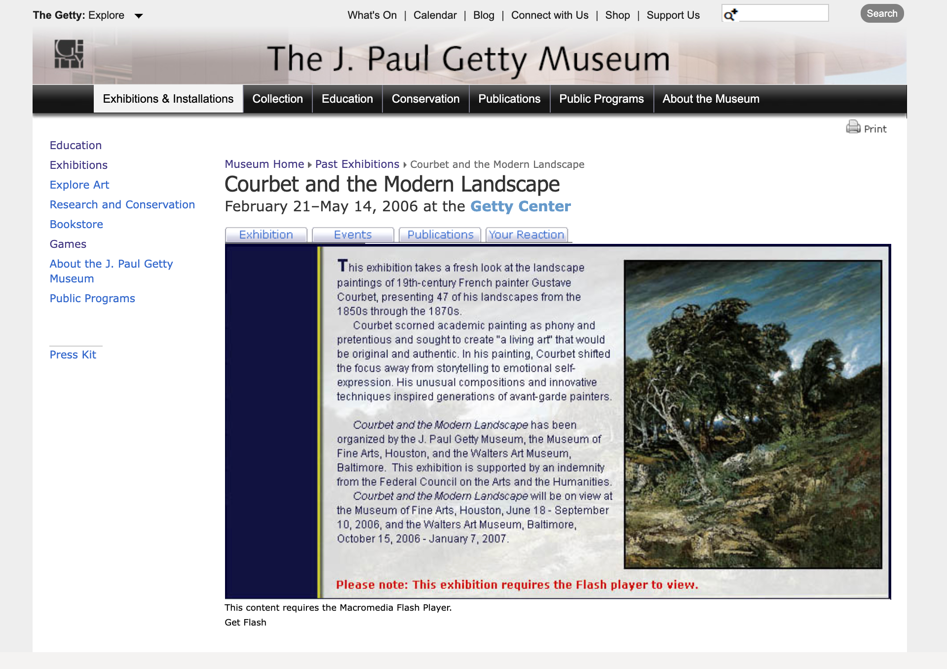 Screencapture of a website showing a broken Flash presentation of a past museum exhibition about Gustave Courbet. A landscape painting is visible at right.