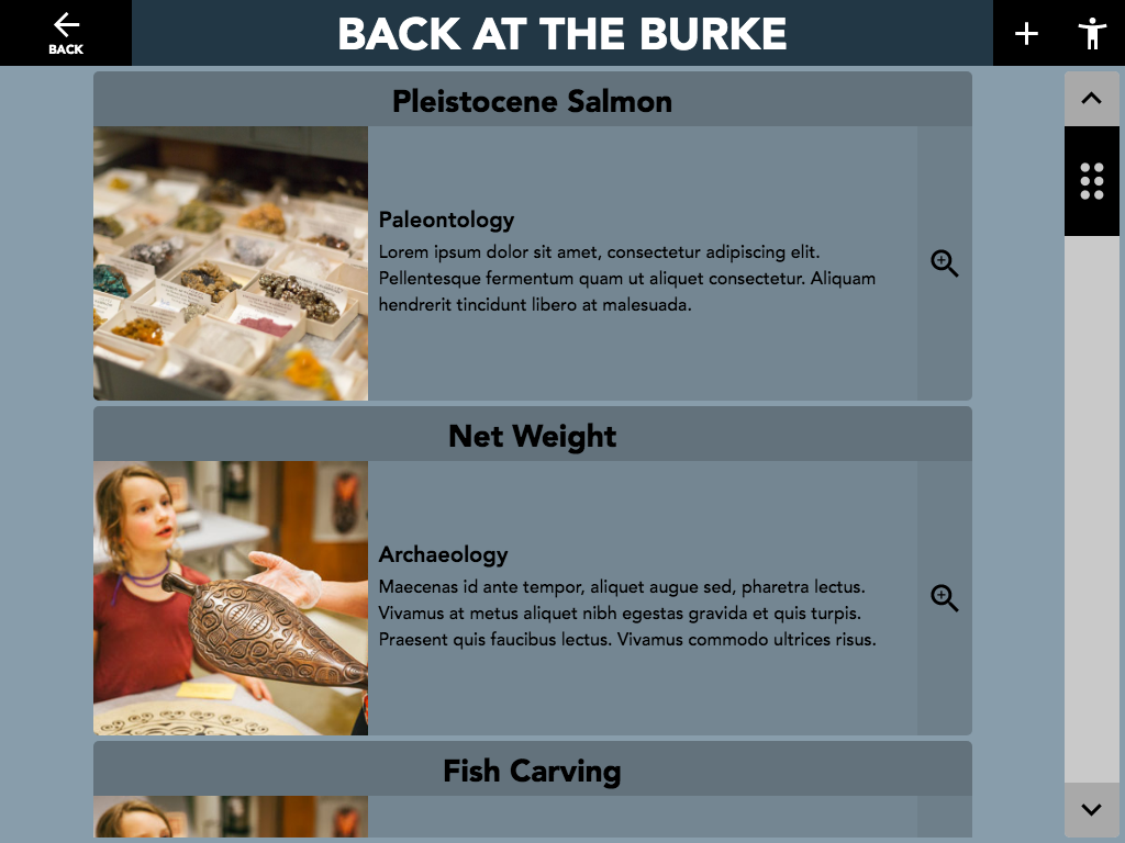 "Figure 9: Back at the Burke ""Object"" activity. This activity is designed to highlight objects from the museum's ""home"" collection that are related to objects in the pop-up exhibition."