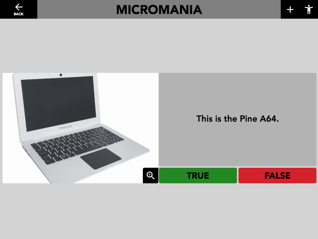 "Figure 16: Micromania ""True or False Quiz"" activity- button text can be configured with different wording or left blank."