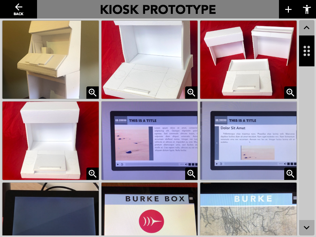 "Figure 14: Kiosk Prototypes ""Image Gallery"" activity."