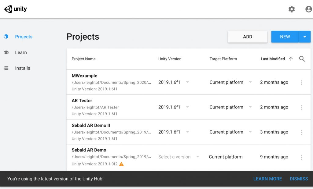 Unity Hub Projects Interface