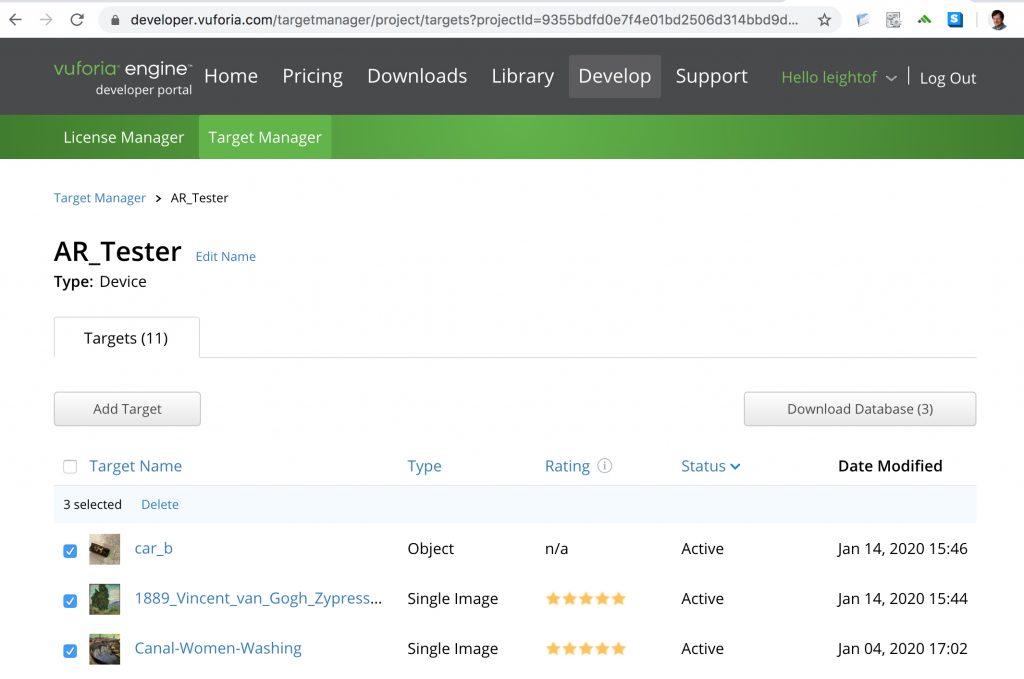 Target Manager in Vuforia Engine Developer Portal